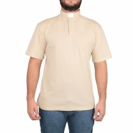 camisa de padre polo clerical bege ref 220